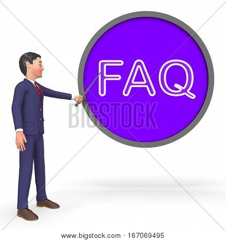 Faq Sign Means Frequently Asked Questions 3D Rendering