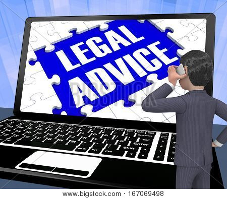 Legal Advice On Laptop Showing Assistance 3D Rendering