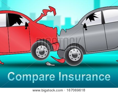 Compare Insurance Shows Car Policy 3D Illustration