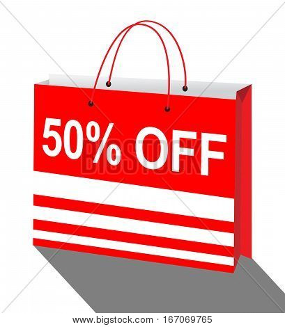 Fifty Percent Off Showing Sale 50% 3D Illustration