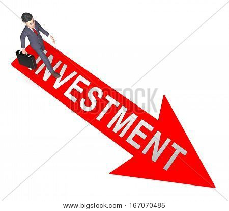 Investment Arrow Shows Trade Investing 3D Rendering