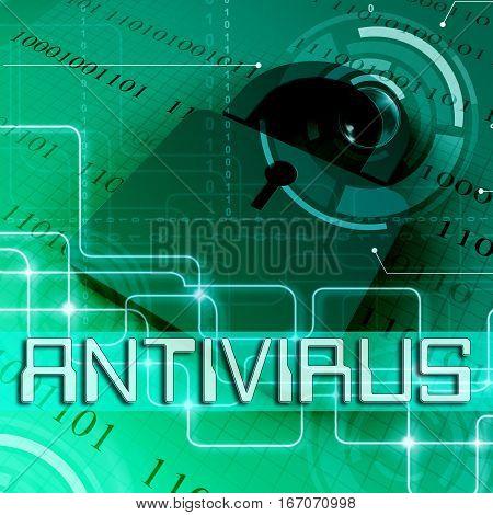 Antivirus Data Padlock Shows Protected 3D Rendering