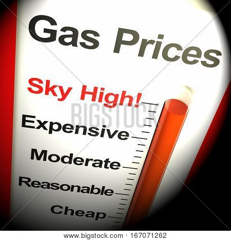 Gas Prices Sky High Monitor 3D Rendering