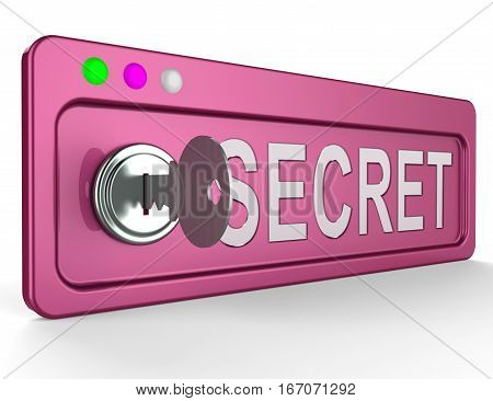 Secrecy Lock Represents Top Secret 3D Illustration