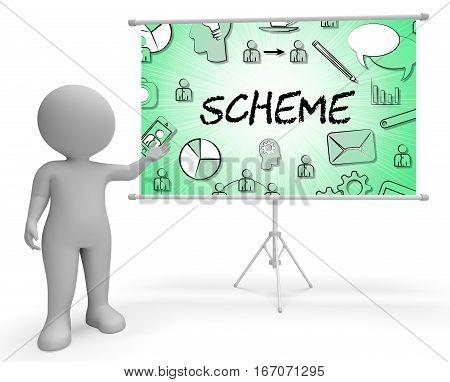 Scheme Icons Shows Tactic Schemes 3D Rendering