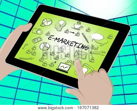 Emarketing Icons Represents Internet Promotions 3D Illustration