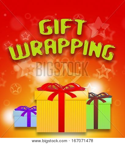 Gift Wrapping Shows Present Wrapped 3D Illustration