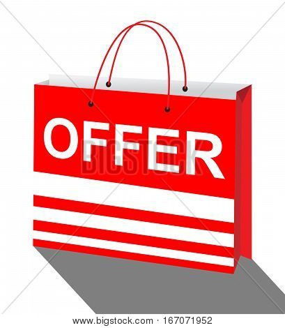 Offer Shopping Bag Shows Bargain Prices 3D Illustration