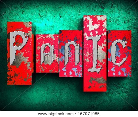 Panic Word Shows Anxiety Panicking 3D Illustration