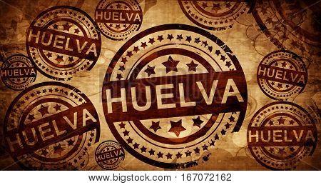 Huelva, vintage stamp on paper background