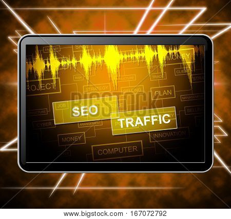 Seo Traffic Means Search Engine 3D Illustration
