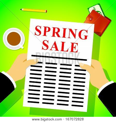Spring Sale Showing Bargain Offers 3D Illustration