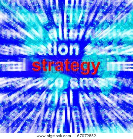 Strategy Word Showing Planning And Vision 3D Rendering
