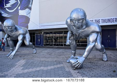 Tampa, Florida - Usa - January 07, 2017: Giant Player Sculptures