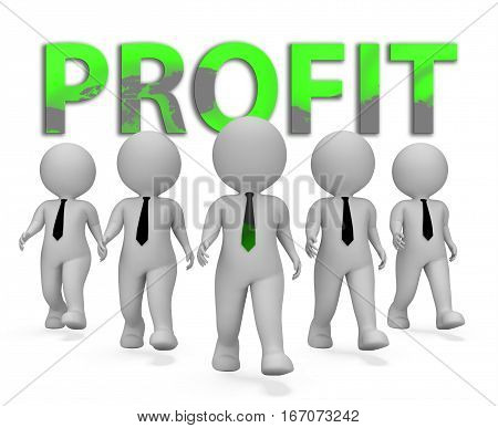 Profit Businessmen Means Earnings Growth 3D Rendering