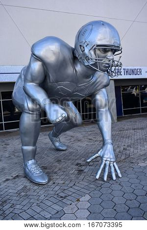 Tampa, Florida - Usa - January 07, 2017: Football Playoff Sculpture In Tampa