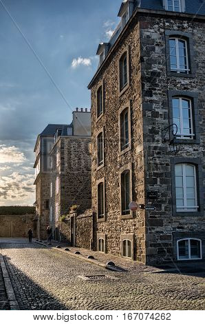 First-line stone buildings in Saint-Malo looking to the ocean, Bretagne France