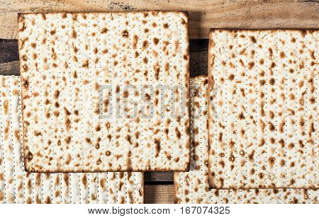 Jewish matza on Passover. Traditional Jewish food