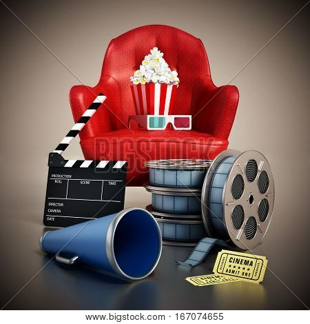 Red seat pop corn ticket film reel and slate. 3D illustration