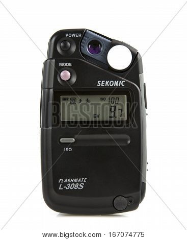 SWINDON UK - JANUARY 28 2017: Sekonic Flashmate L-308S Lightmeter on awhite background