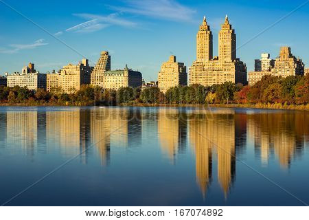 Upper West Side with view of Jacqueline Kennedy Onassis Reservoir and Central Park in Fall. Manhattan New York City