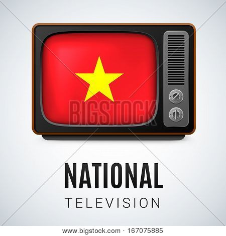 Vintage TV and Flag of Vietnam as Symbol National Television. Button with Vietnam flag