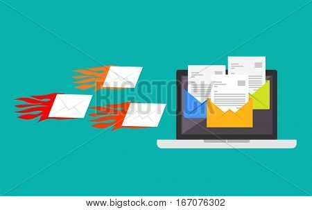Spamming attack. Spam email Receive many emails concept