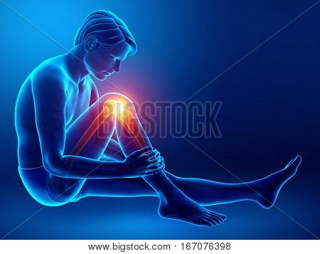 3d Illustration of Male feeling Knee pain