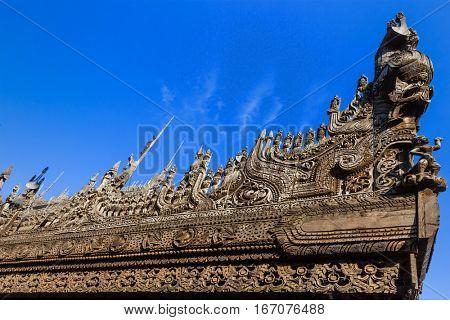 detail Shwenandaw Monastery in Mandalay city Myanmar