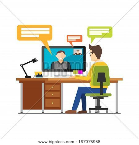 Video call chatting communication concept. Web camera video call online conference concept illustration for web banner, web element or infographics element. Teleconference