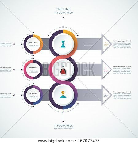 Vector infographics timeline design template with 3D paper label, integrated circles background. Blank space for content, business, infographic, digital network, flowchart, process, time line