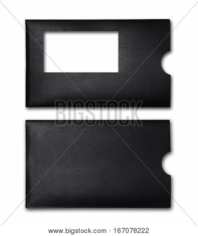 Back and front of black envelope for business correspondence isolated on white