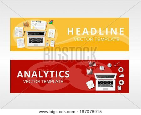 Business analytics. Business solution advertisement concept illustration for banner , brochure , graphic template.
