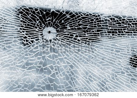 Broken Strained Glass With Bullet Hole