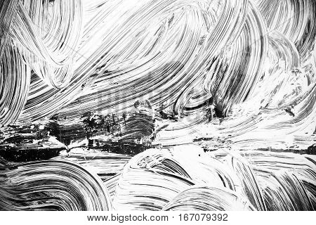 Curned White Brush Strokes Paint Pattern