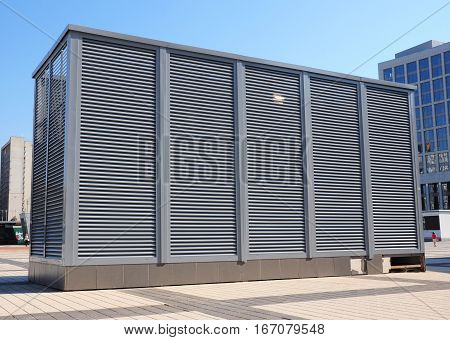 Industrial air conditioning and ventilation systems. Ventilation system of factory. HVAC as Heating Ventilating Air Conditioning. AC-heater.