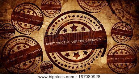 saint vincent and the grenadines, vintage stamp on paper backgro