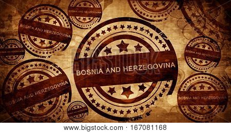 Bosnia and herzegovina, vintage stamp on paper background