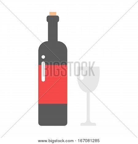 Alcohol drink bottle isolated on white background. Wine beverage celebration merlot. Gourmet restaurant party liquor. Vector grape splashing champagne.