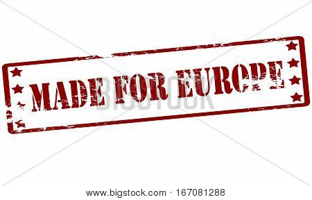Stamp with text made for Europe inside vector illustration