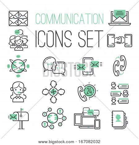 Communication network icons vector illustration. People security wireless chat database computing info. Mobile link information globe phone connect sign.