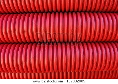 Red Corrugated Plastic Pipes Background
