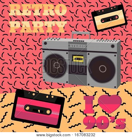 Retro party 90s. Audio cassette tape recorder geometric elements. Vector illustration in 80s-90s memphis style.