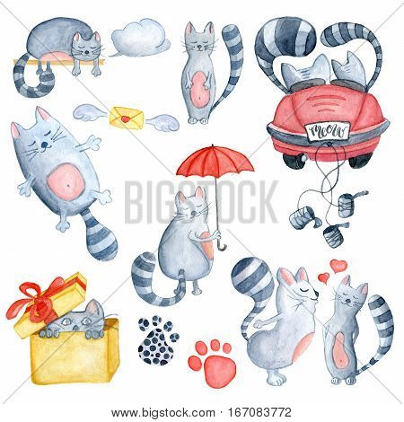 Watercolor set with love couple cats in just married red car with red umbrella and in greeting bax. Hand-drawn cartoon illustration for greeting cards invitations Valentine`s cards