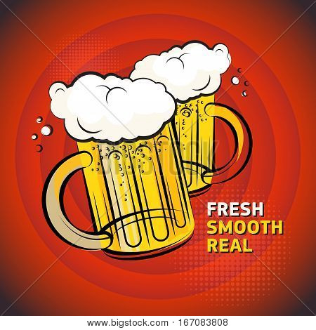 Poster or label with the Two Beer glass and text Fresh Smooth Real written inside vector illustration