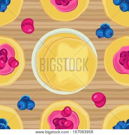Vector seamless pattern on Shrove Tuesday pancakes with jam on a wooden surface
