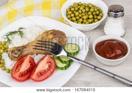 Fried Legs With Vegetable And Rice, Bowls With Tomato Ketchup