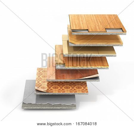 Floor types coating. Flooring Installation. Pieces of different floor coating. Parquet laminate wooden plank tiles concrete. 3d illustration
