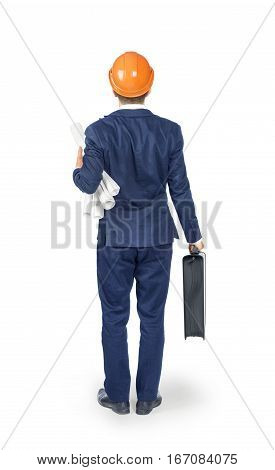 Man in suit and helmet with blueprints and case isolated on white background