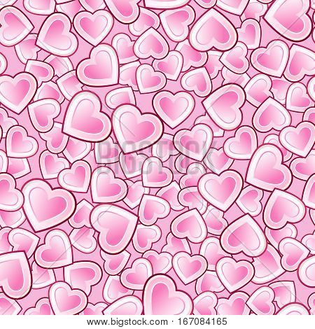 Vector seamless pattern of densely packed with white hearts pink gradient
